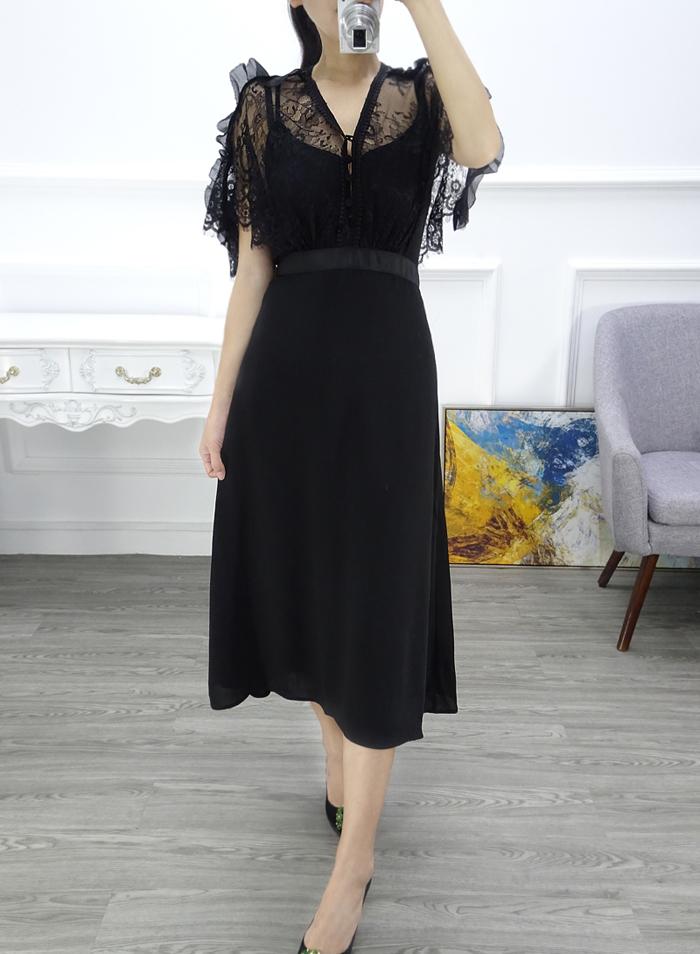性感蕾线裙18夏装新款蕾丝拼接修身显瘦中长款两件套短袖连衣裙
