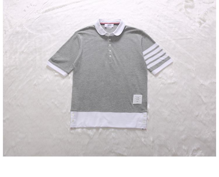 Cổ điển mới tb polo áo sơ mi nam giới và phụ nữ vài mô hình slim ve áo triều thương hiệu ngắn tay giản dị ve áo T-Shirt áo polo