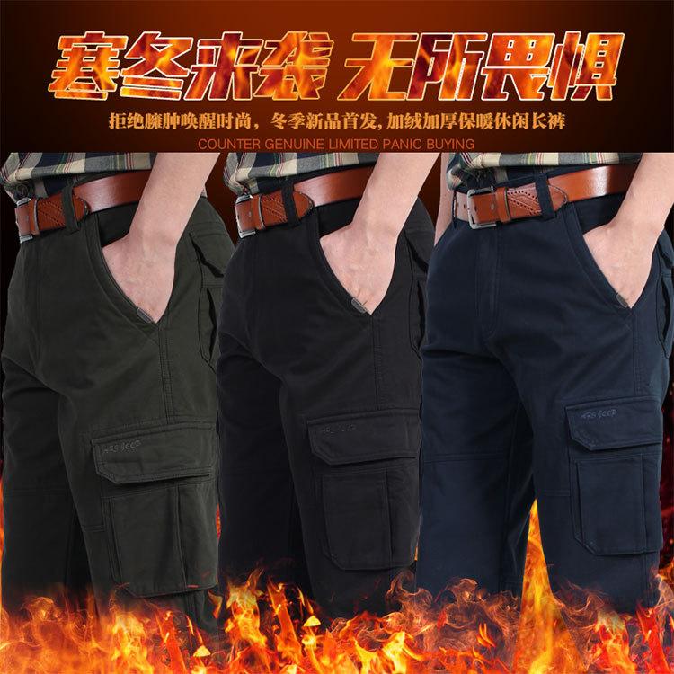 Quần yếm nam chính thức cotton đa túi quần overalls đa túi lỏng cộng với phân bón để tăng kích thước lớn thẳng