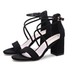 Sandals women's high heels 2018 new summer Korean version of the wild student thick with a word buckle with Roman women's shoes
