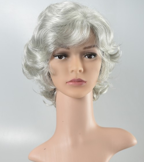Middle-aged white wig short curly hair partial points Ms. wig silver white  performance 2f53f9307191