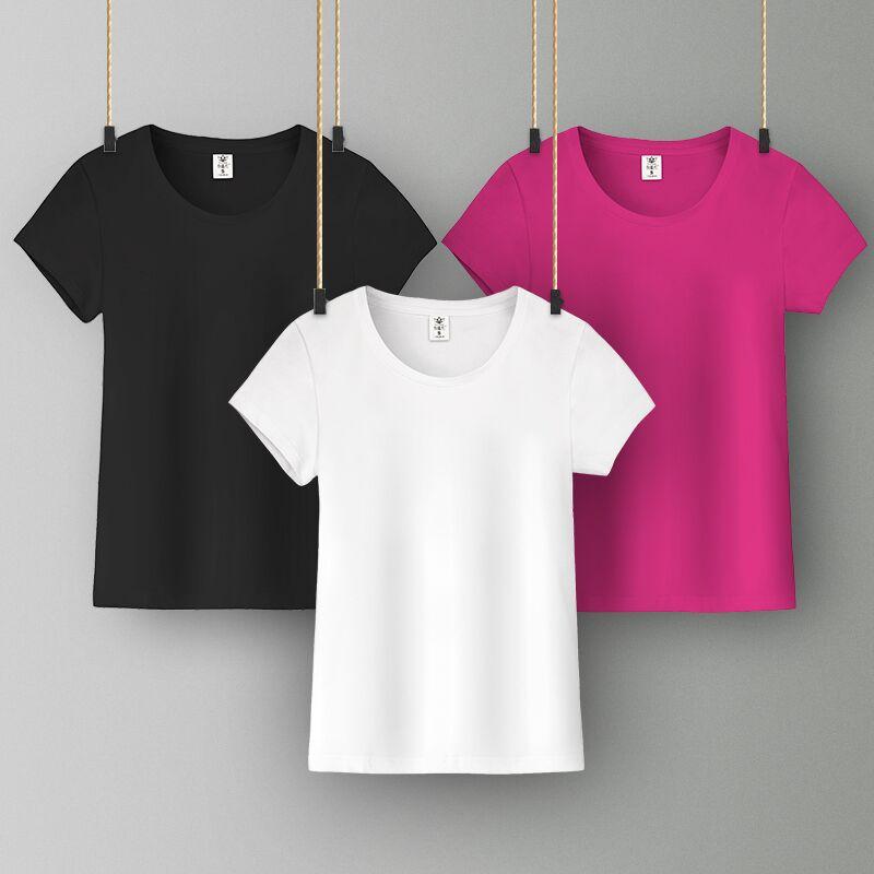 新款ins潮纯棉白色t恤女短袖修身圆领百搭夏装上衣纯色简约运动T