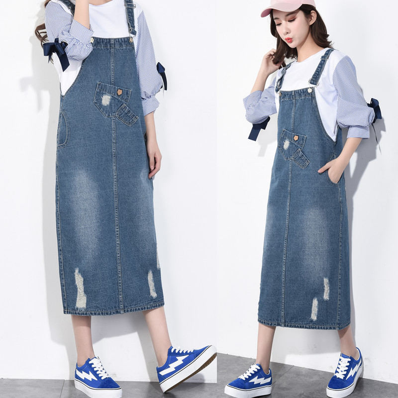 ff1365a751c 2018 New Design Spring Denim Dress Plus Size Jean Skirt Loose Style Strap  Casual Skirt Dress for Women Girls