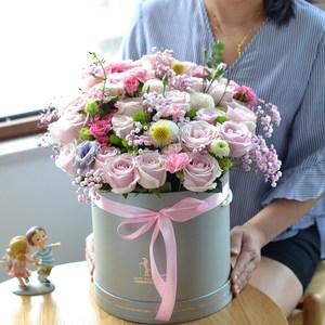 情人节抱抱桶生日玫瑰礼盒武汉鲜花速递同城济南青岛大连太原送花