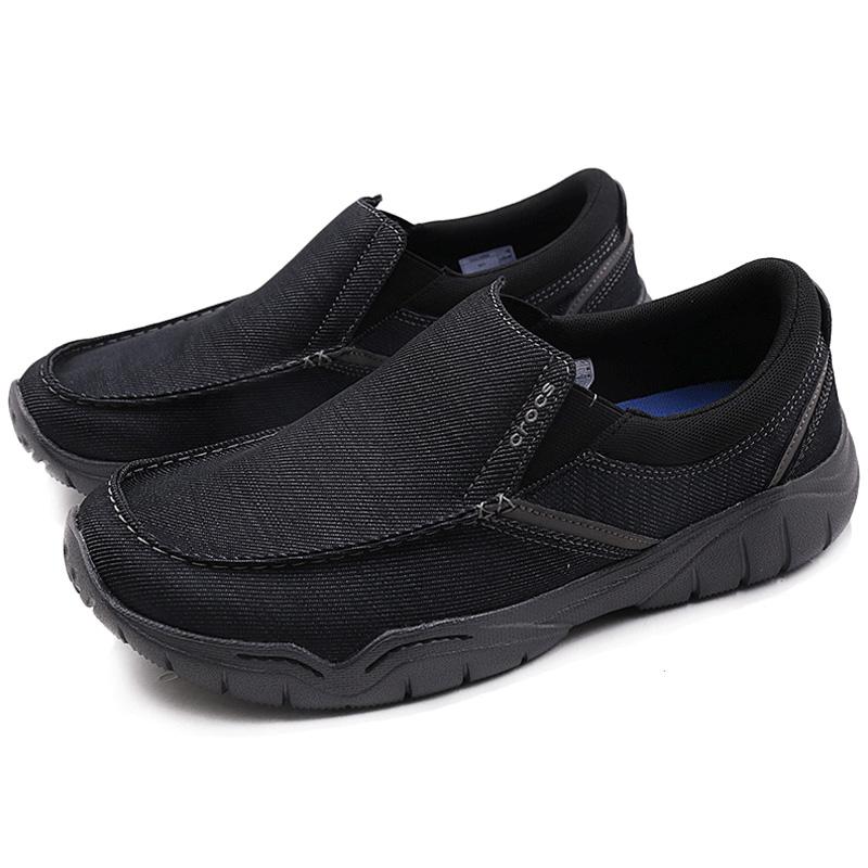 Crocs卡骆驰帆布2019新款男鞋运动鞋透气平底鞋休闲鞋204694-02S