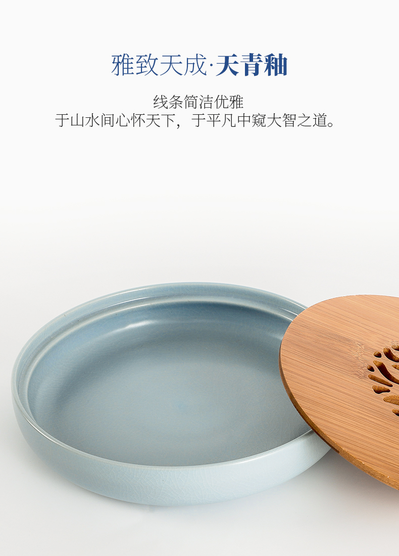 Jingdezhen tea tea tray was small your up ceramic household of I and contracted bamboo tray was drop embedded saucer