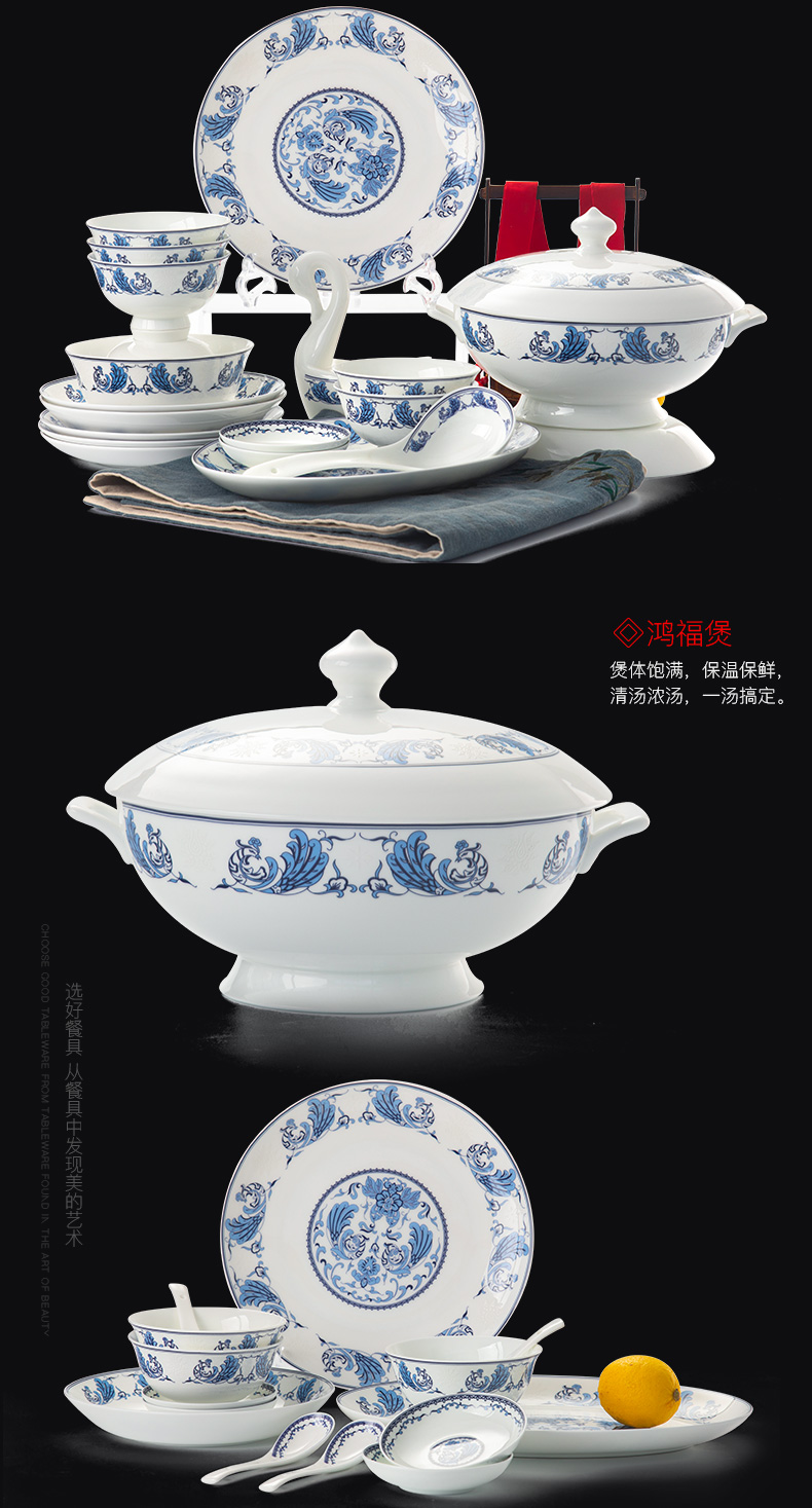 Touch the floor clearance 】 【 jingdezhen blue and white porcelain tableware suit household ipads high - grade Chinese chopsticks dishes dishes