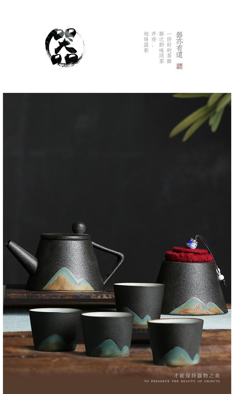 Distant mountains Japanese coarse pottery kung fu tea set household ceramics girder pot teapot tea service of tea of a complete set of the teapot