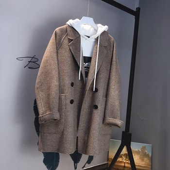 Herringbone short paragraph pretty double-sided cashmere jacket female woolen herringbone suit loose loose coat
