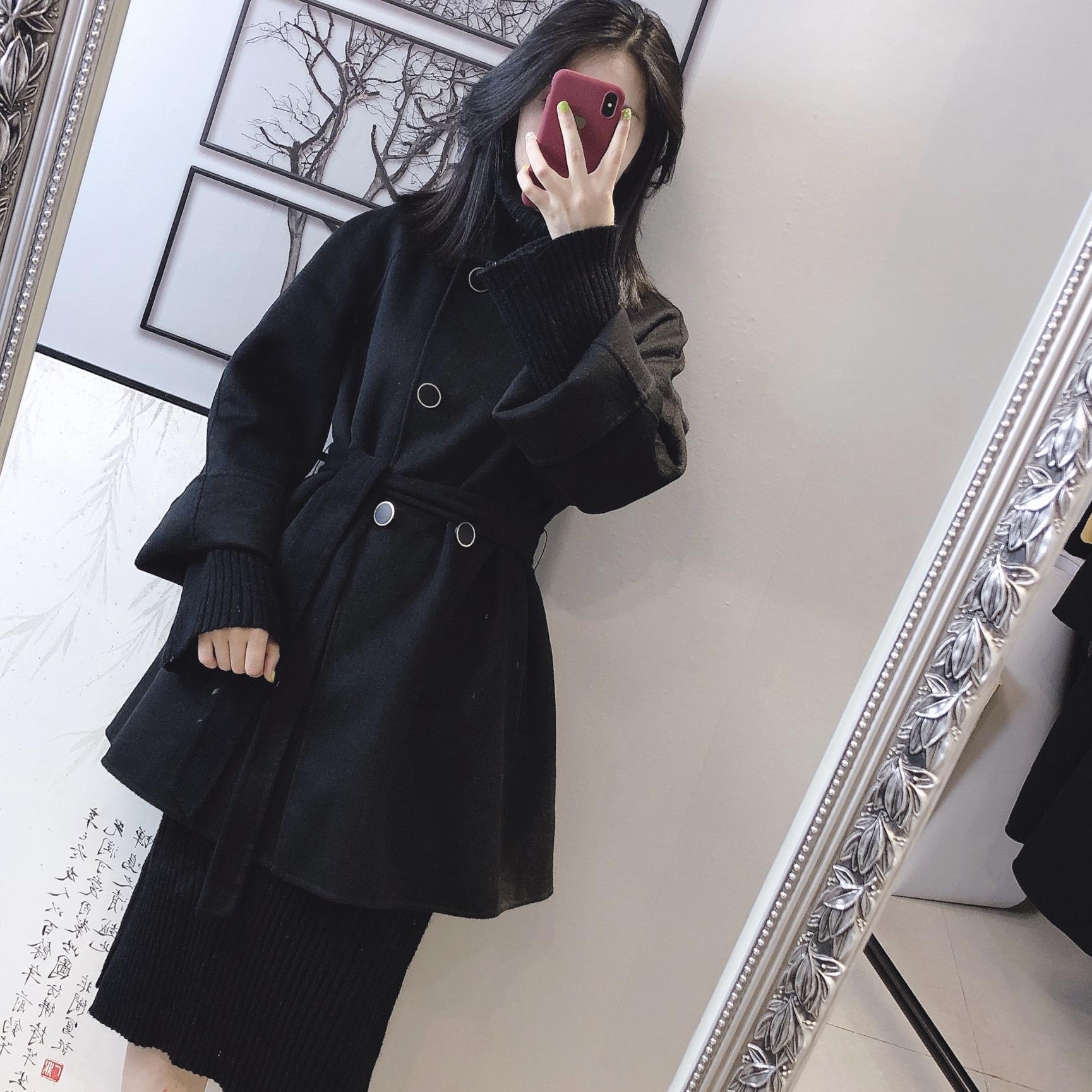 反季清仓黑色2019双排扣手工大衣外套羊绒双面短款特价毛呢斗篷女