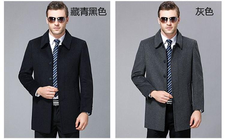 Mùa thu và mùa đông trung niên cashmere áo nam cha nạp Nizi áo gió nam dài áo len lông