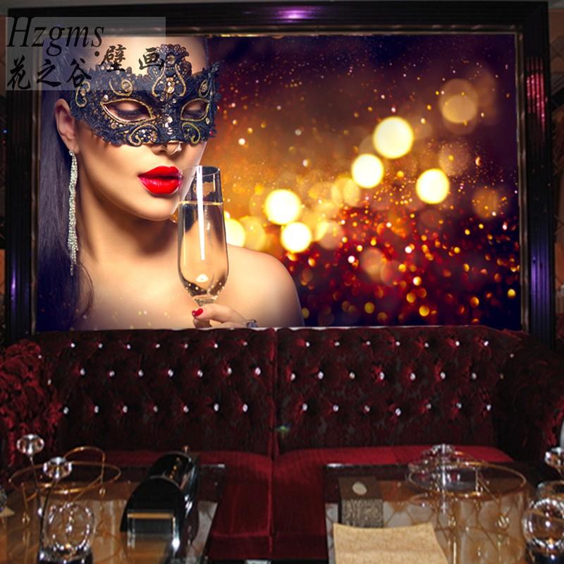 酒吧壁画KTV背景墙壁纸现代个性美女夜店装饰画墙纸定制无缝墙布