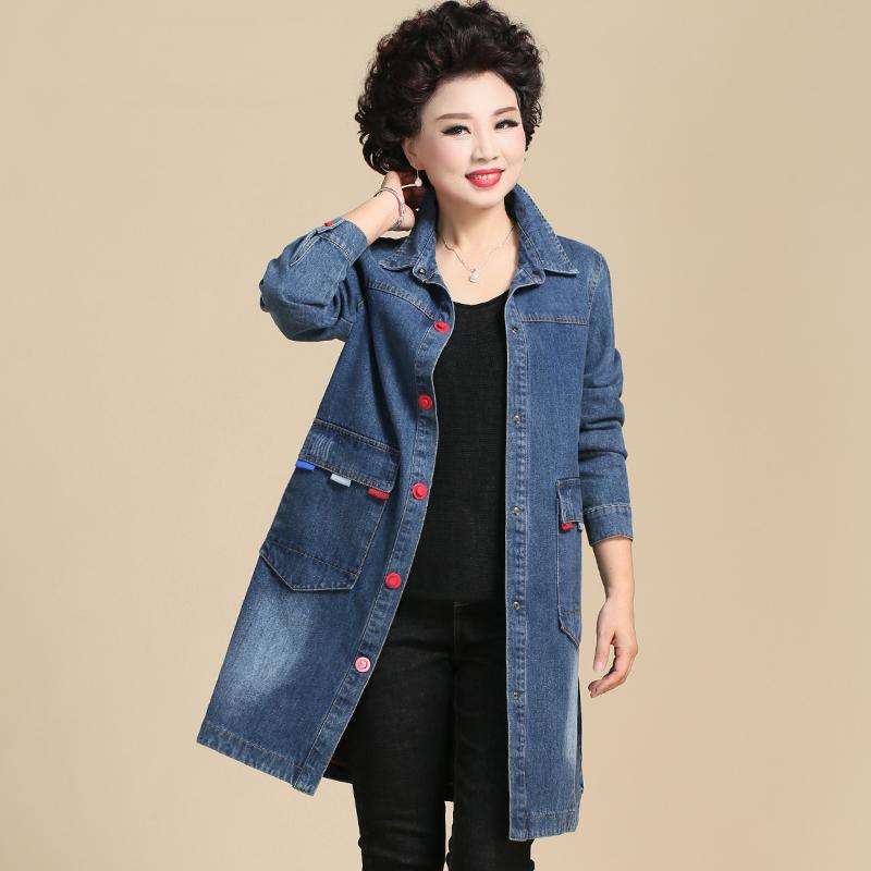 中年妈妈春装风衣中长款薄款中老年牛仔外套女新款气质春秋上衣