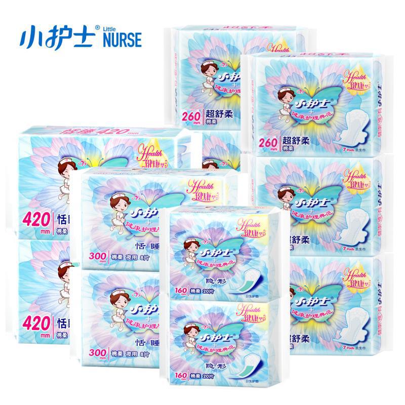 小护士卫生巾日夜组合装6包34片 棉柔亲肤夜用护垫姨妈巾