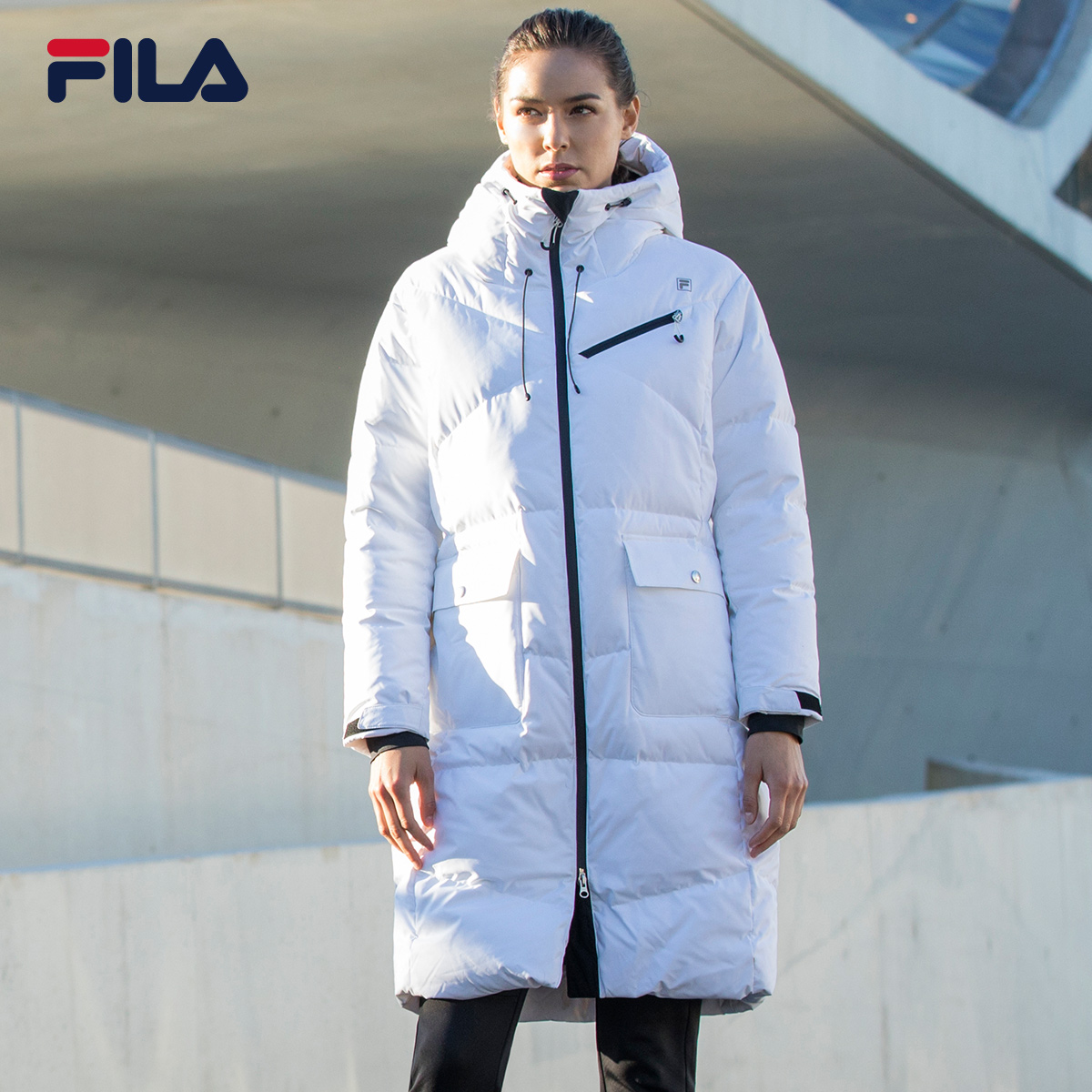 d8c5d96f3dfd FILA Feile down jacket female RED Series 2018 New Female down jacket simple  long section Sports down jacket