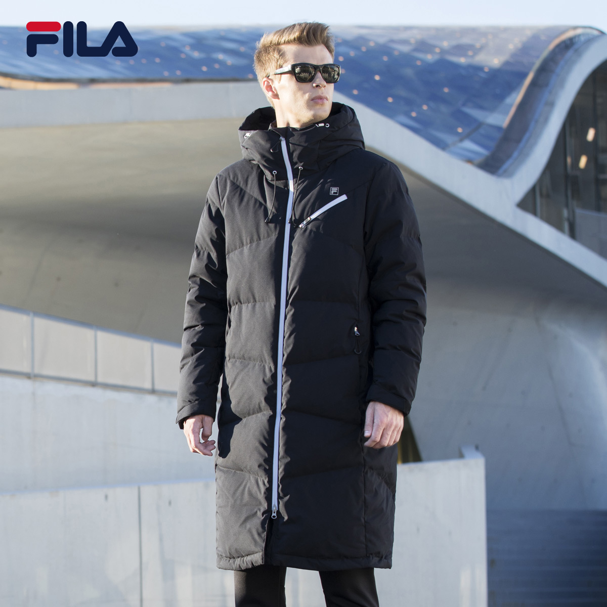 58f8c19ef8be Grab FILA Fei Le Male winter long windproof warm Hooded Down Jacket Men)  25744951