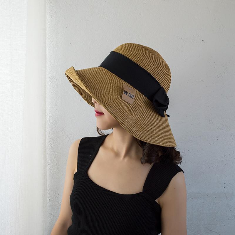日本出口UVcut草帽女孙俪同款可折叠防晒帽子夏天沙滩遮阳太阳帽