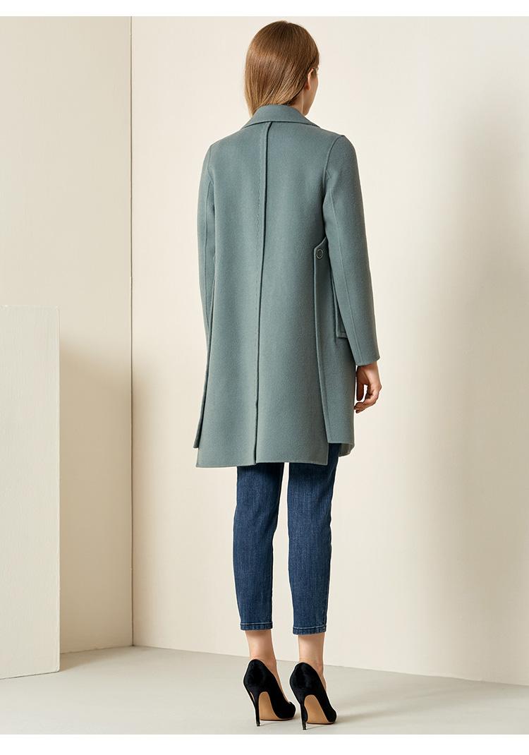 娜尔思女双面呢毛呢大衣2019冬季新款宽松中长款羊毛大衣一粒扣女商品详情图