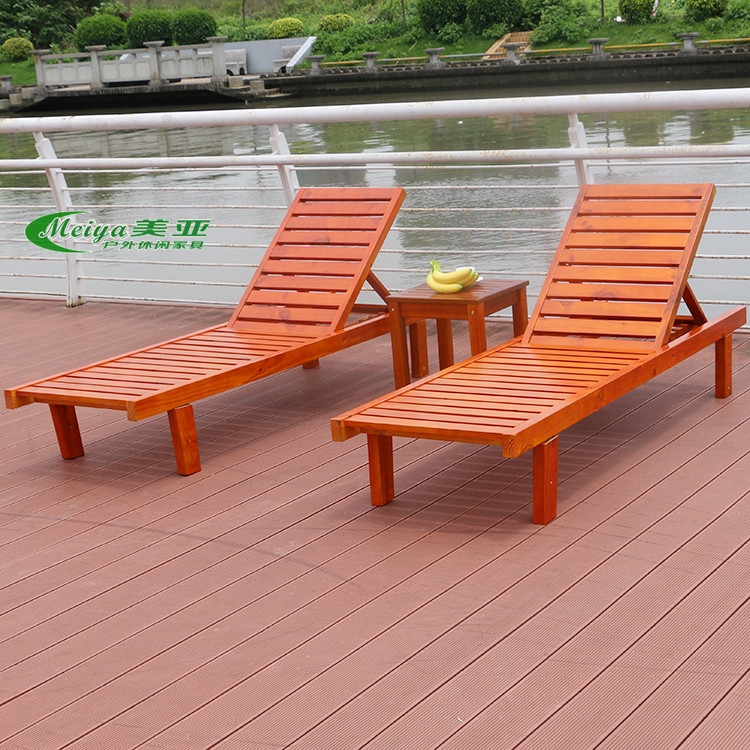 Solid Wood Reclining Bed Foldable Outdoor Recliner Lounger Beach Chair Leisure Wooden Swimming Pool