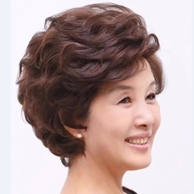 18 new wig short hair mother simulation hair wig middle-aged wig middle-aged lady short hair fluffy
