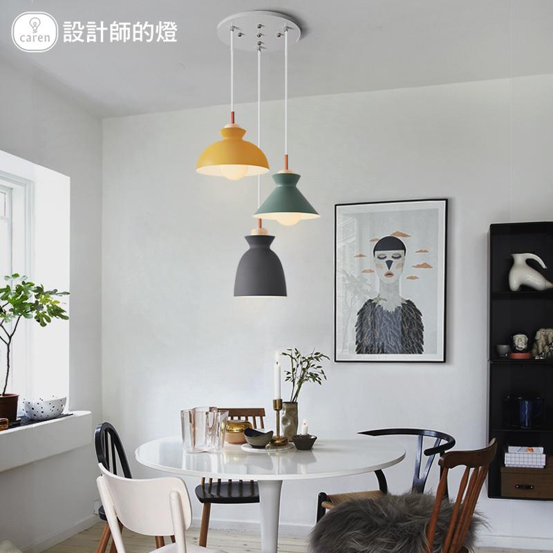 设计师的灯北欧灯具简约创意咖啡饭厅吧台铁艺三头马卡龙餐厅吊灯