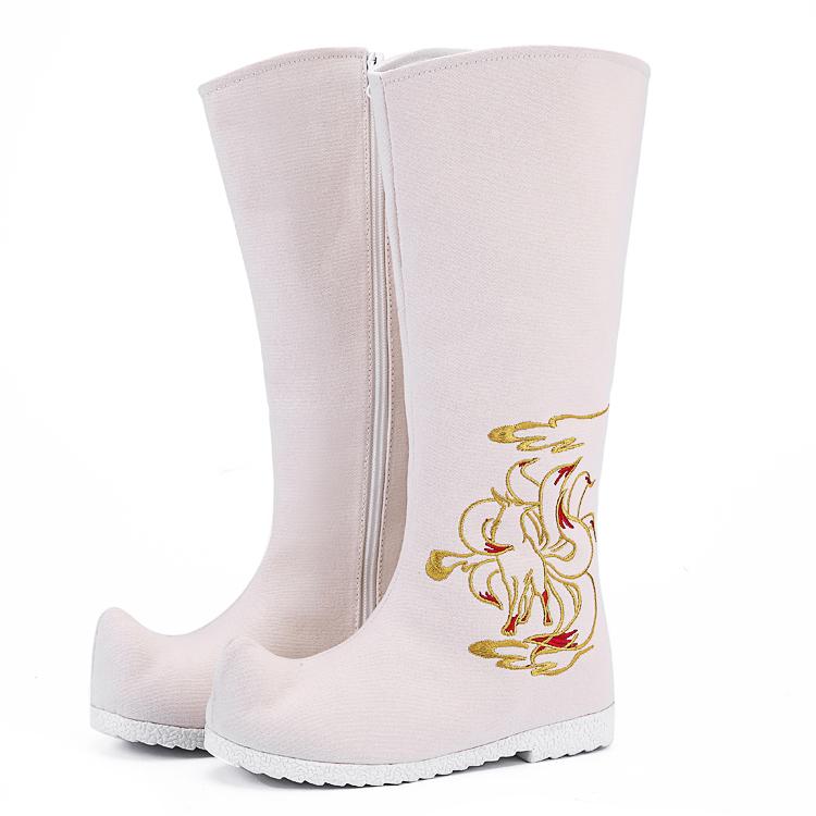 传统汉服女靴长筒靴子翘首靴刺绣汉服弓鞋CP翘头古风花布靴单靴