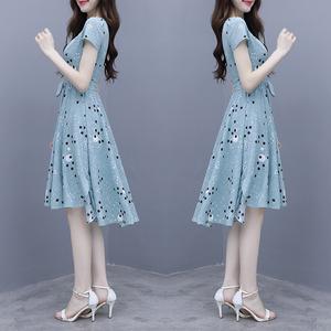 FS33142# 仙女超仙森系智熏法式高腰波点雪纺连衣裙收腰显瘦气质 服装批发