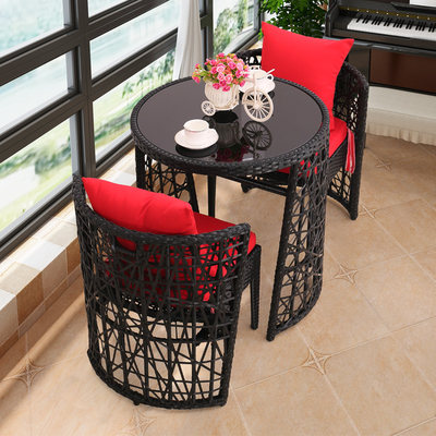 Balcony small table and chair won creative tea several combinations of casual simple home net red rattan chair three-piece waterproof