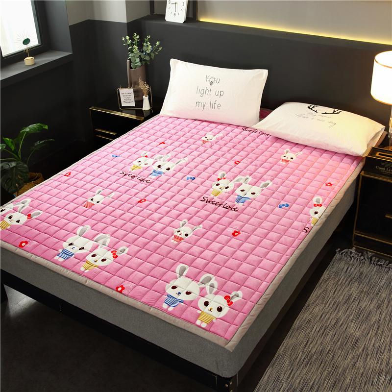 法莱绒床水洗1.8m床1.5可床单折叠榻榻米褥子珊瑚绒夹棉床垫防滑
