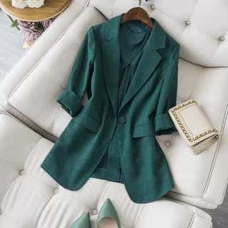 Grandmother green setting off the temperament! High end Japanese cotton hemp small suit coat slim boutique women's suit summer