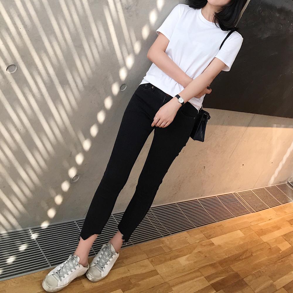 Джинсы женские Мали/2017 осень новый черный серый высокой упругой неровными краями 8 минут джинсы(ДЖП)