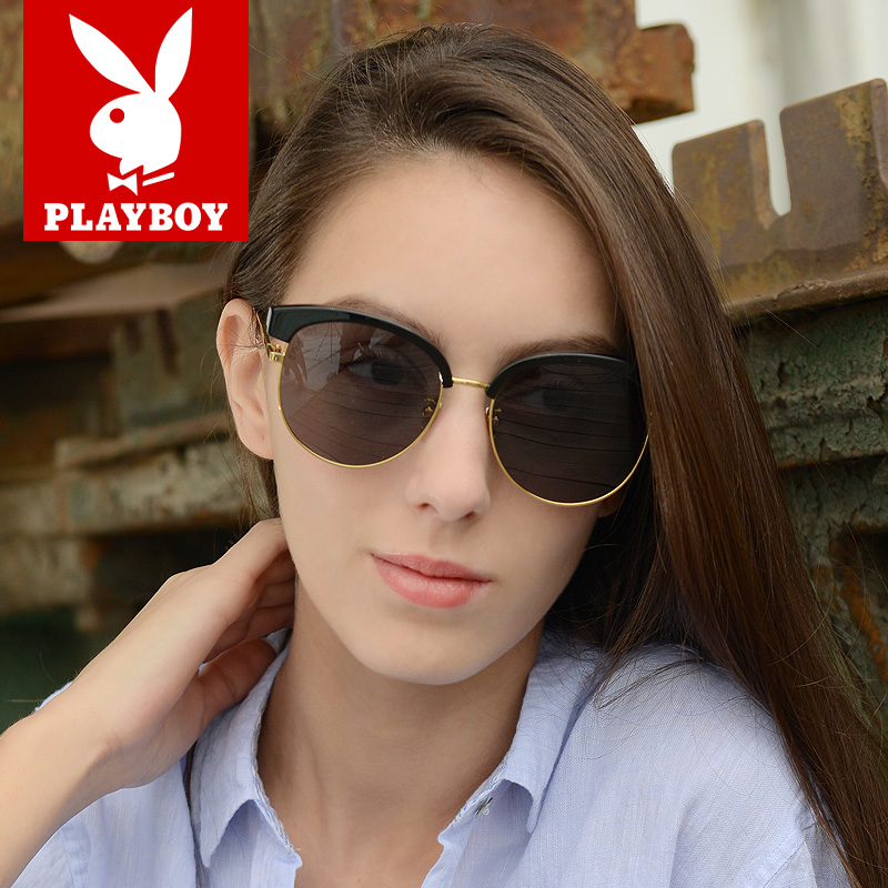ff624b11f2 Playboy sunglasses female tide new round face large frame retro eyes  driving sunglasses male myopia PB23047