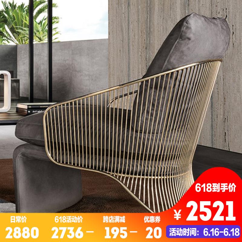 Италии свет экстравагантный натуральная кожа диван стул после современный один контакт разговор подключать подожди стул нержавеющей стали дизайнер ткань случайный стул