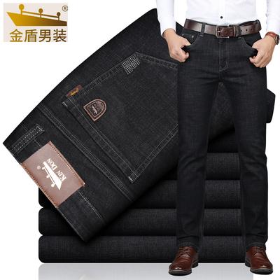 金盾牛仔裤男夏季薄款潮牌直筒宽松黑色冰丝超薄弹力休闲2021长裤