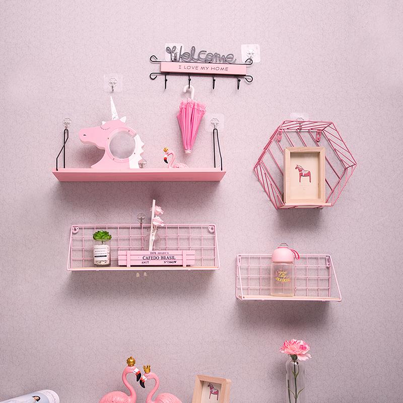 粉红少女心房间布置创意网红房间装饰卧室墙壁挂件ins墙上置物架