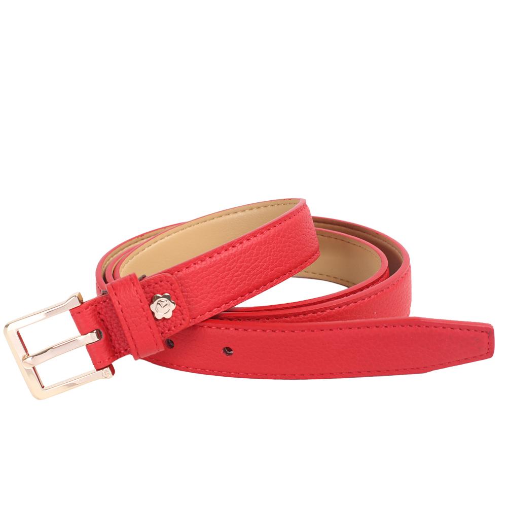 金利来牛皮2019新款真皮皮带女士本命年红皮带皮带腰带针扣正品