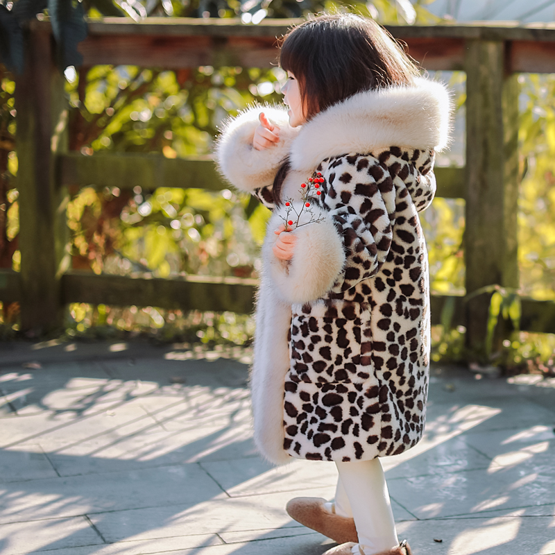 儿童皮草外套女童装2020秋冬季新款宝宝大毛领加厚棉衣洋气中长款