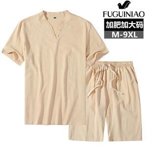 富贵鸟亚麻套装t恤休闲两件套
