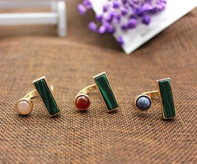 原创设计开发  欧美风饰品 孔雀石长方镶嵌天然石戒指 合金戒指