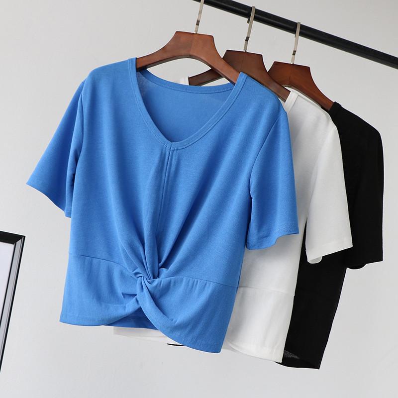 夏季v领t恤v下摆下摆打结性感女上衣宽松露脐短袖潮短款冰丝针织衫
