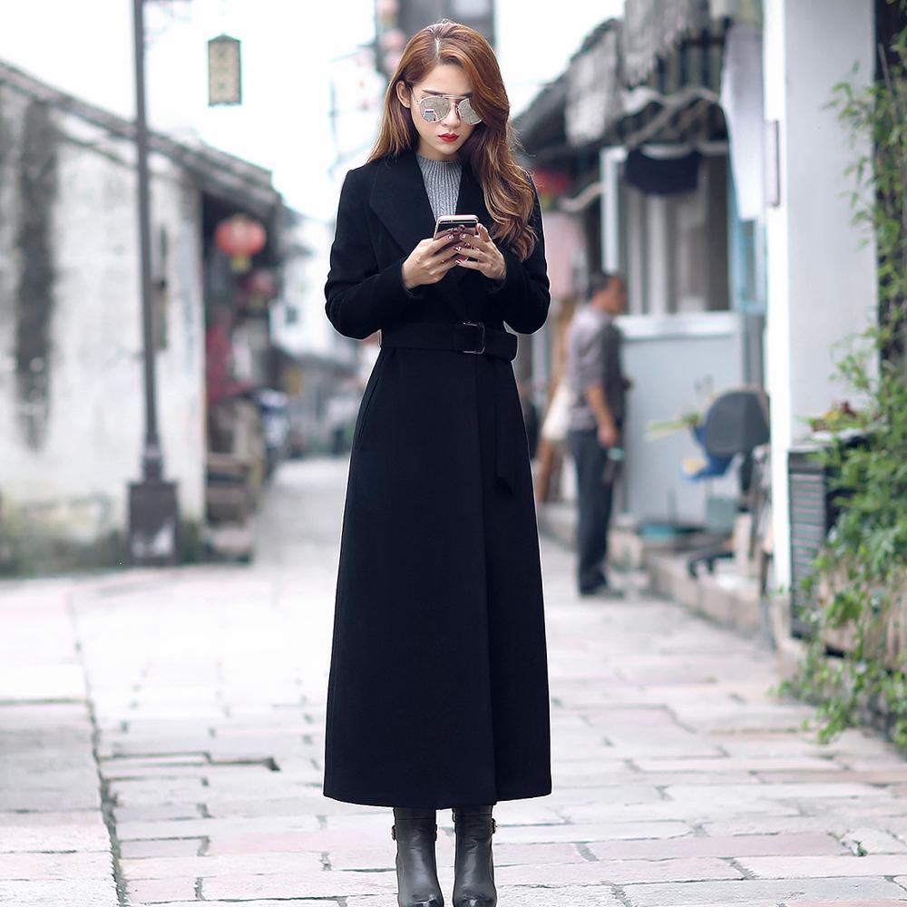 方领纯羊毛呢大衣女装2018冬欧美系带超长款修身羊绒职业呢子外套