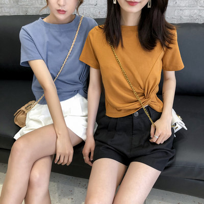 Cotton short-sleeved female 2021 spring and summer new INS tide t-shirt short solid color Korean version of the personality small blouse