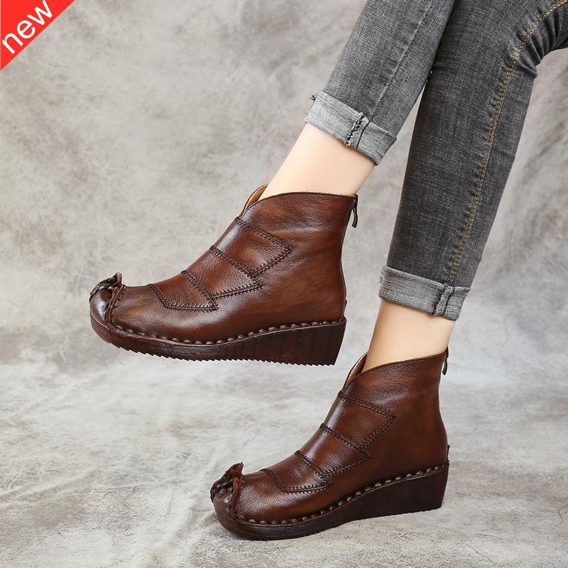 Giày nữ mùa đông cộng với nhung handmade da retro phong cách quốc gia Giày nữ trung niên nêm đôi giày đế bằng nữ đế mềm - Giày ống