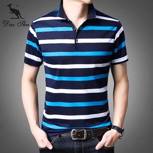 袋鼠国际大牌纯棉条纹POLO衫T恤