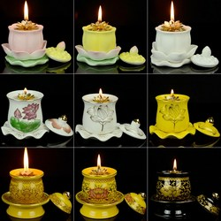 Jingxiu Pavilion Liquid Buddha Lamps Changming Butter Lamps Lotus Lamps for Buddhas Household Oil Lamps for Buddha Lamps