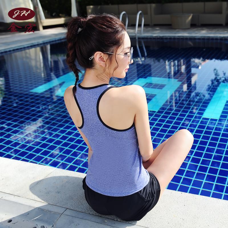平角女2019新款分体保守两泳衣遮肚显瘦件套裤v平角款学生游泳衣
