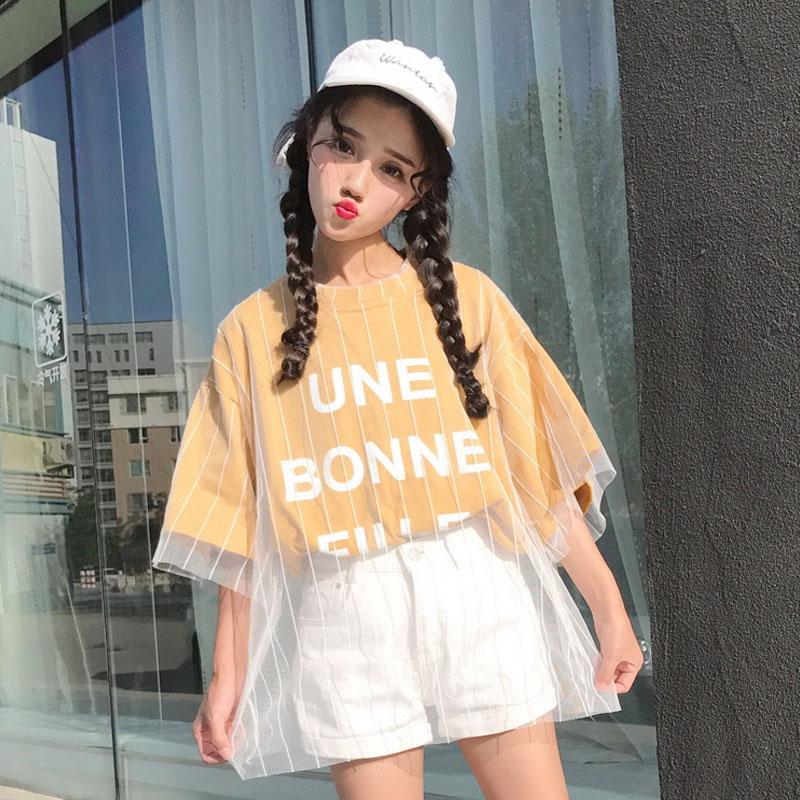 34夏季新款女装韩版学生宽松网纱字母半袖假两件短袖T恤上衣潮