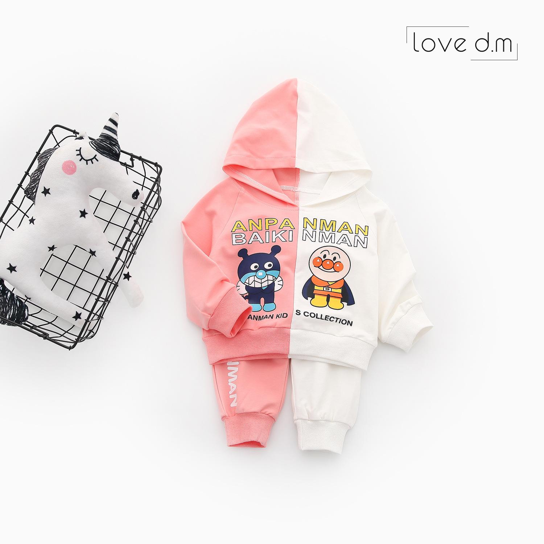 婴儿衣服宝宝两件套男童女童卡通超人连帽长袖卫衣卫裤休闲套装粉