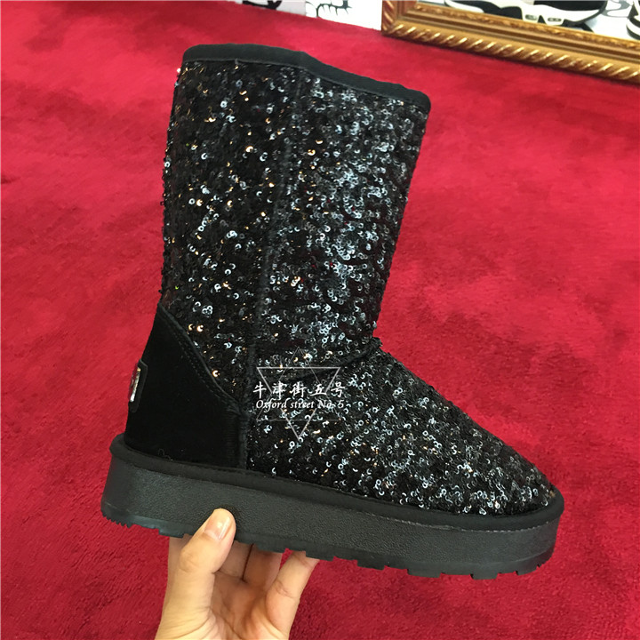 香港专柜代购正品IIJIN艾今女鞋秋冬新款亮片中筒增高雪地靴子