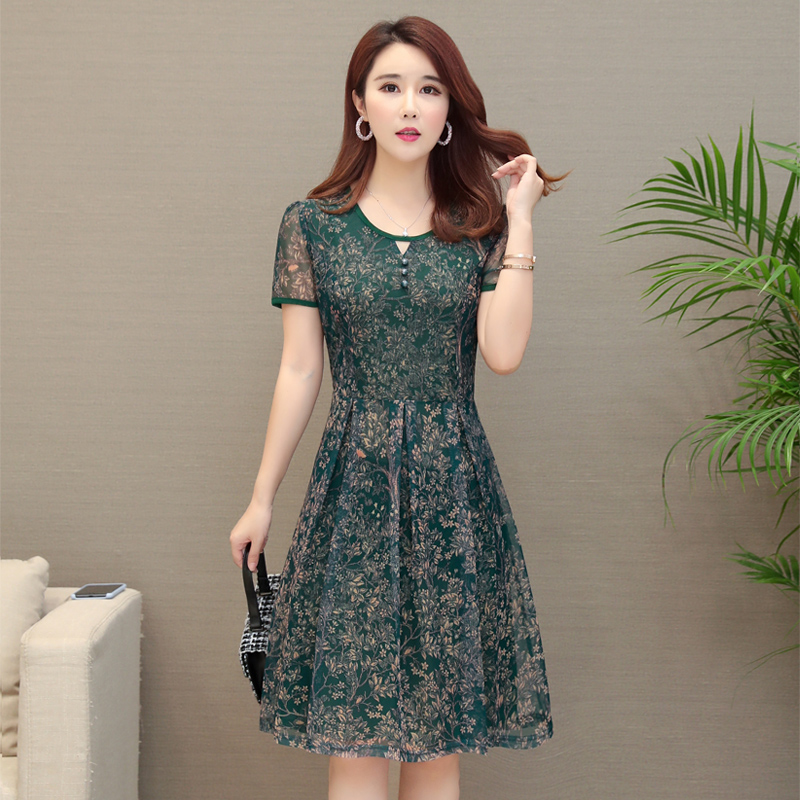 764981f1c7860 Mother middle-aged women 40 years old 50 loose foreign style wide lady  Noble chiffon knee-length young summer dress